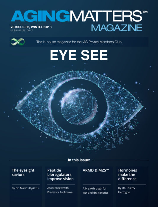 Aging Matters Magazine front showing an eye made of geometric shapes and blue background