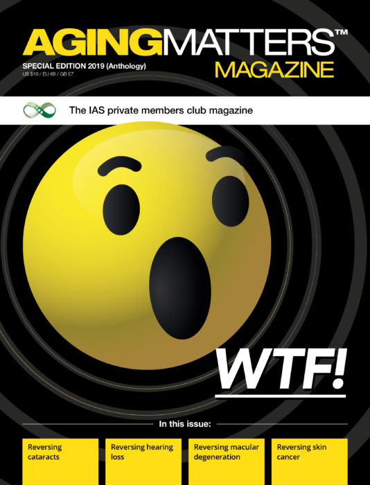 Aging Matters Magazine front showing a large yellow shocked emoji with a black background