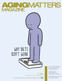 Aging Matters Magazine cover of a cartoon person on to a weighing scale