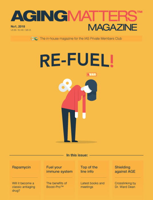 Aging Matters Magazine front showing an animated woman exhausted and 'out of battery'