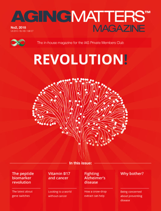 Aging Matters Magazine front showing a brain sending messages