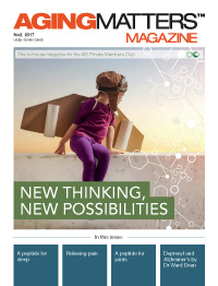 Aging Matters Magazine cover of a child wearing cardboard wings