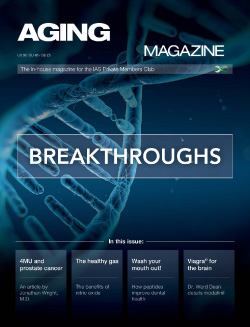 Aging Matters Magazine front showing a large DNA strand in blue with a dark blue background