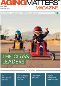 Aging Matters Magazine with two children riding go carts on the cover