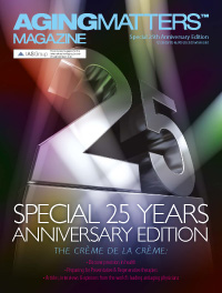 Aging Matters Magazine cover of a large silver 25