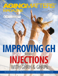 Aging Matters Magazine cover of three people playing beach volley ball