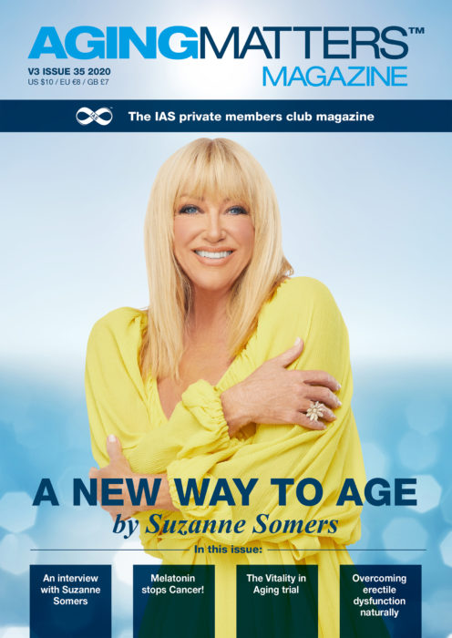 Aging Matters Magazine with a blonde woman smiling a yellow blouse