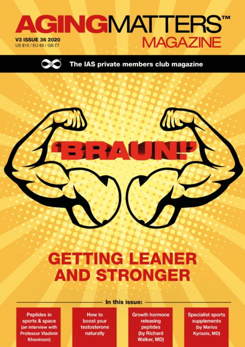 Aging Matters Magazine front showing an orange background and flexing muscles