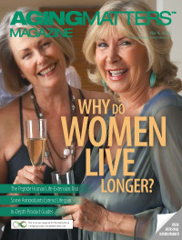 Aging Matters Magazine cover with two women smiling and holding champagne glasses