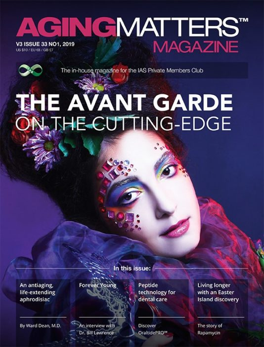 Aging Matters Magazine front showing a woman wearing extreme makeup
