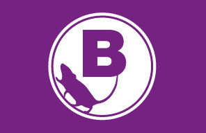 A purple B logo with a mouse outline
