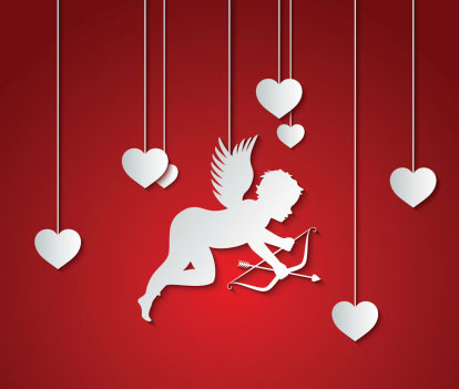 A white cupid outline on a red background with a bow and arrow surrounded by hearts
