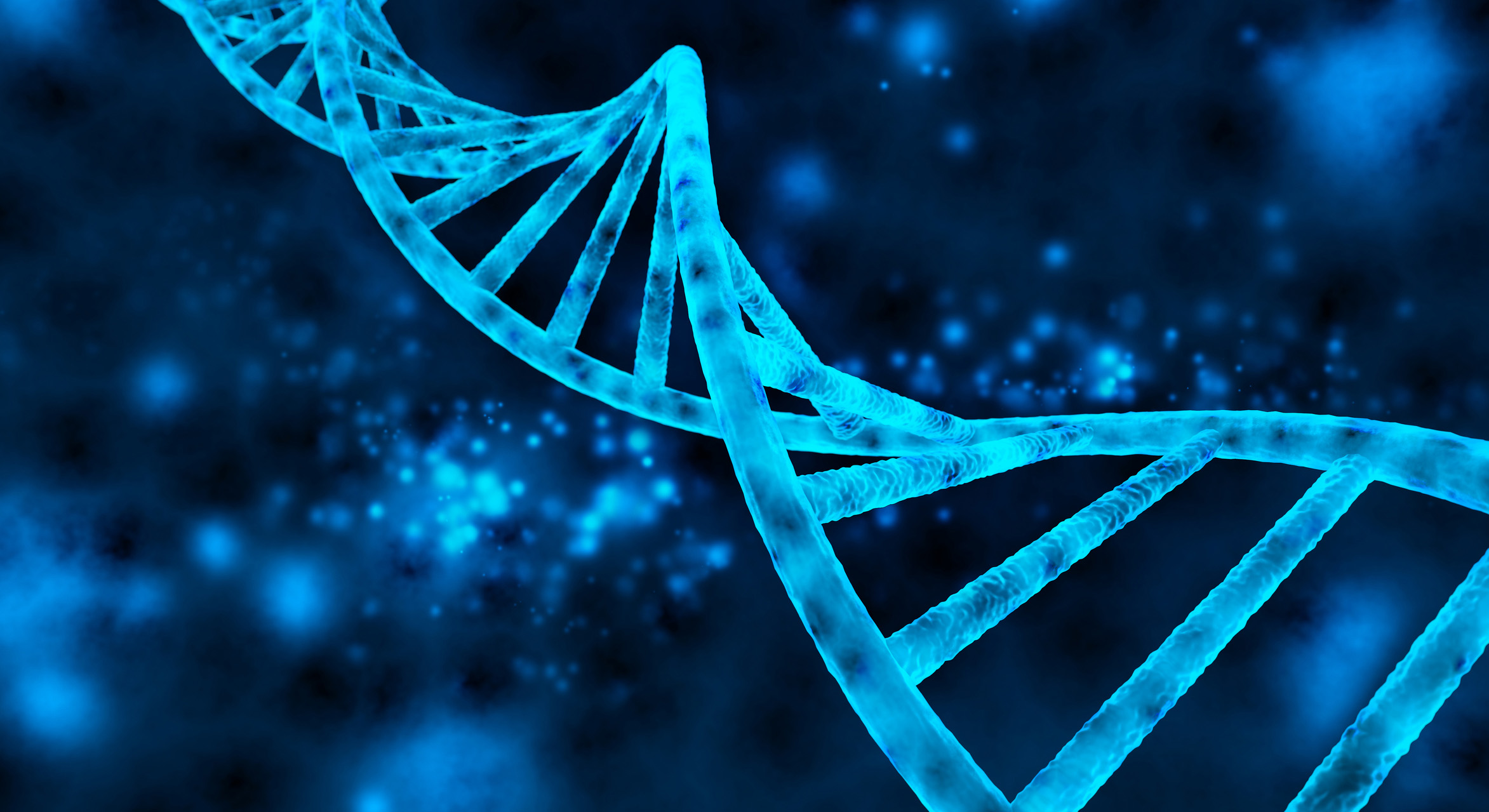 Blue 3D DNA strands with a dark blue background