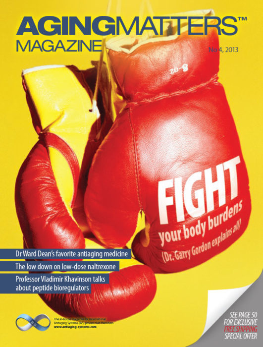 Aging Matters Magazine front of red boxing gloves