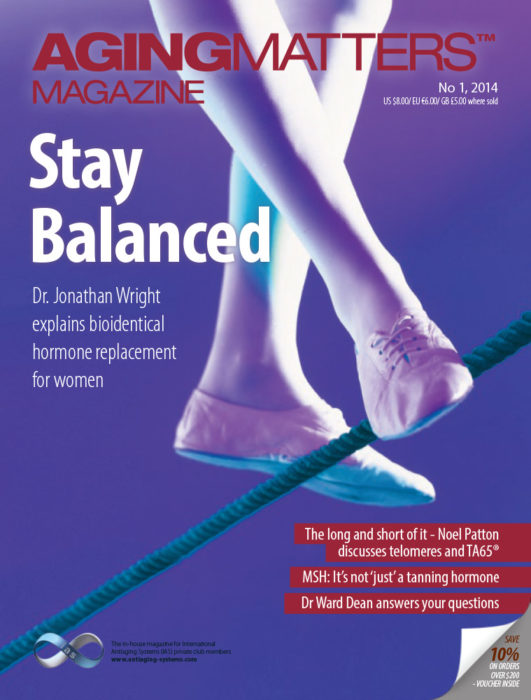 Aging Matters Magazine cover of a persons feet balancing on a tight rope