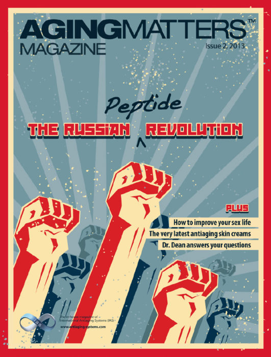The Russian peptide revolution Aging Maters Magazine cover in cartoon style