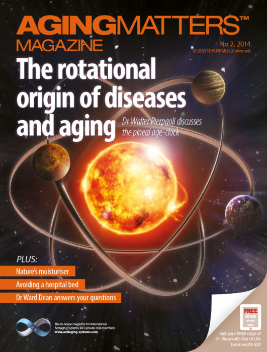 Aging Matters Magazine front of planets orbiting the sun