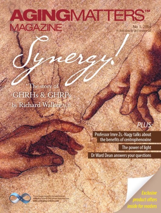Aging Matters magazine front of two painted hands touching