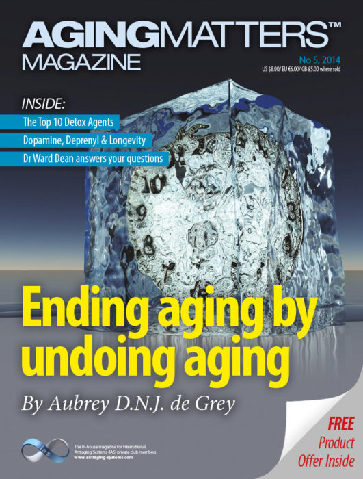 Aging Matters Magazine cover of a large ice cube on a dark background