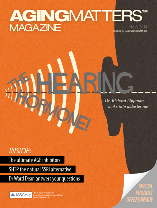 Aging Matters Magazine cover with an animated ear on an orange background