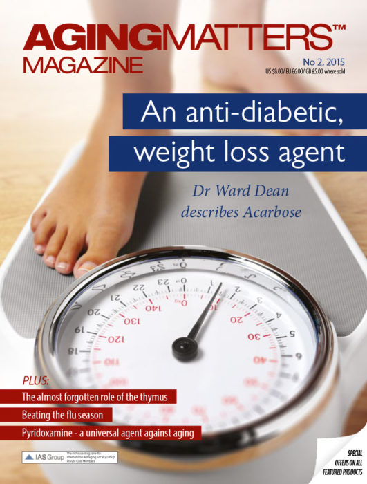 Aging Matters Magazine cover of a person stepping on to a weighing scale