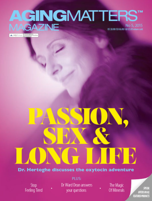 Aging Matters Magazine cover of a man an a woman embracing each other