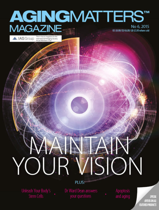 Aging Matters Magazine cover about maintaining your vision wit a geometric eye