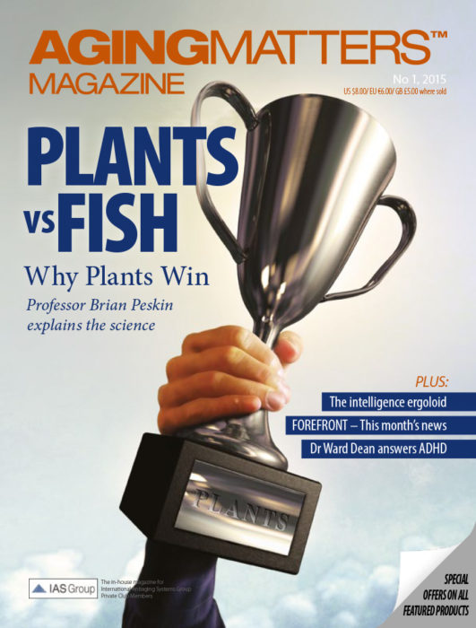 Aging Matters Magazine cover of a person holding up a silver trophy