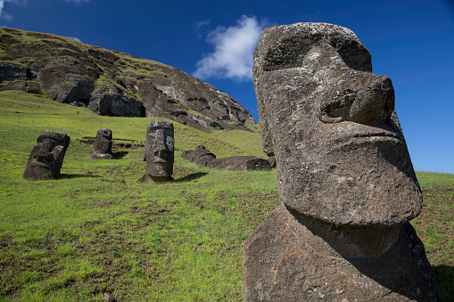 4 Easter Island heads on a hill