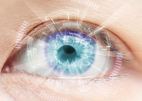 Blue eye with digital effects