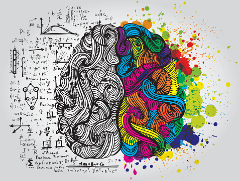 A drawing of a brain with one side colourful and the other side black and white