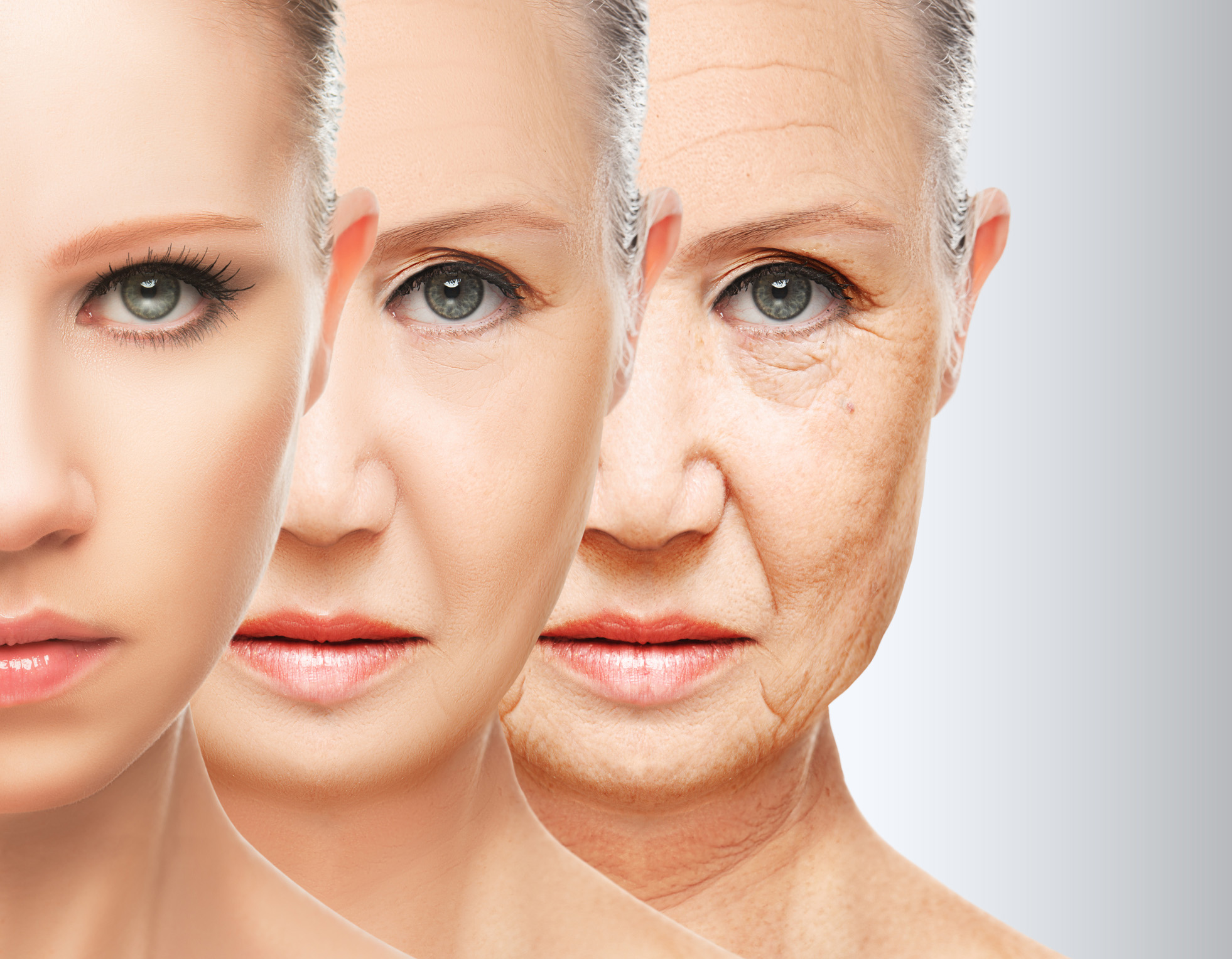 Three images of a woman gradually aging