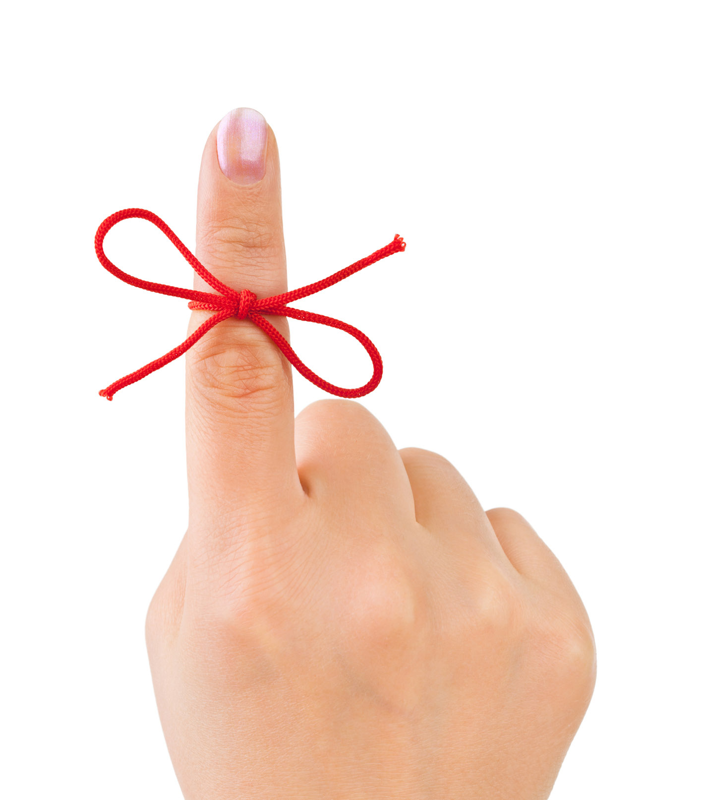 An index finger with a red string tied around it