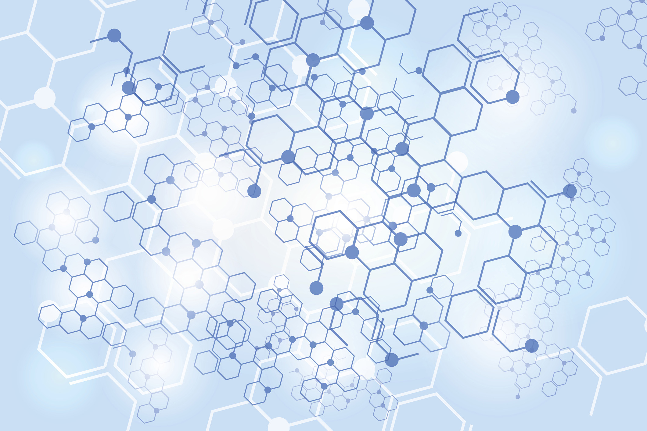 Lots of hexagon chemical structures layered over each other