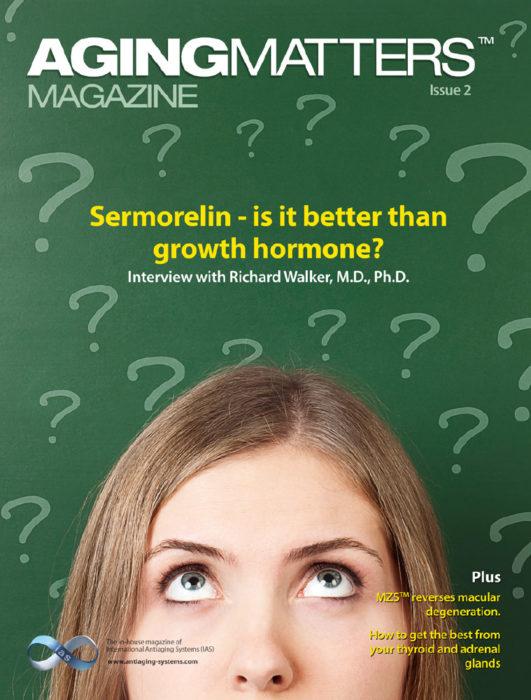 Aging Matters Magazine cover of a woman looking up to lots of question marks