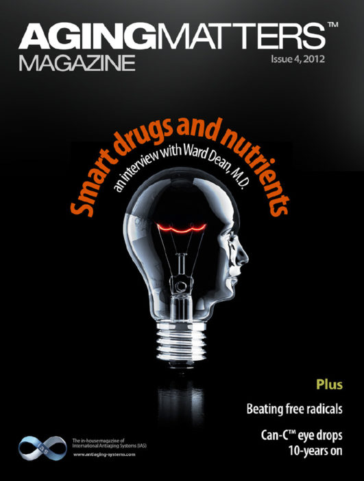 Aging Matters Magazine cover of a human head shaped lightbulb