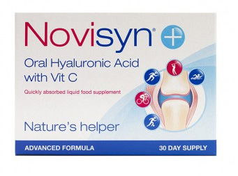 Novisyn product packaging of Oral Hyaluronic Acid & Vit C supplement