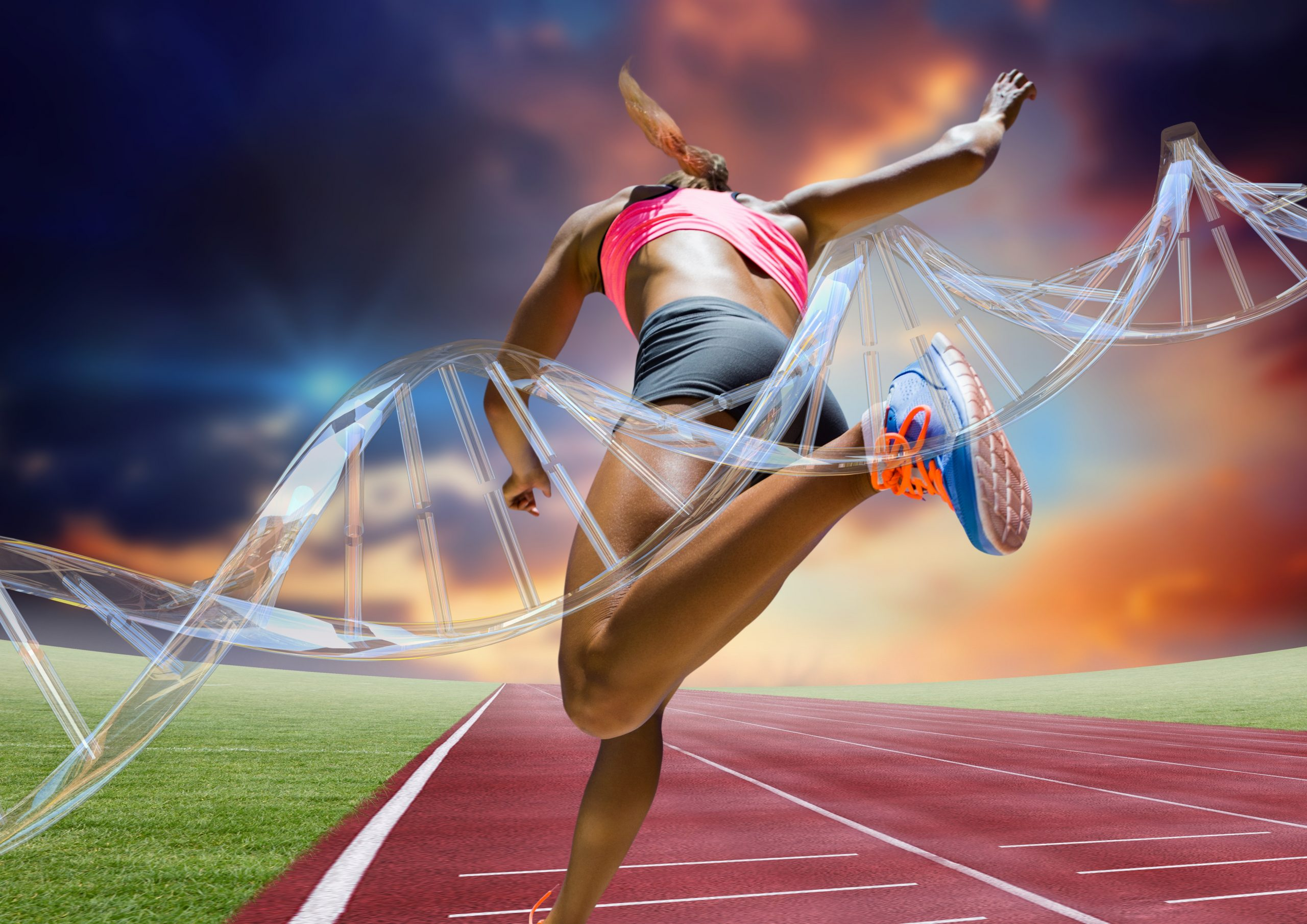 Woman running on a racetrack with a DNA molecule in the foreground