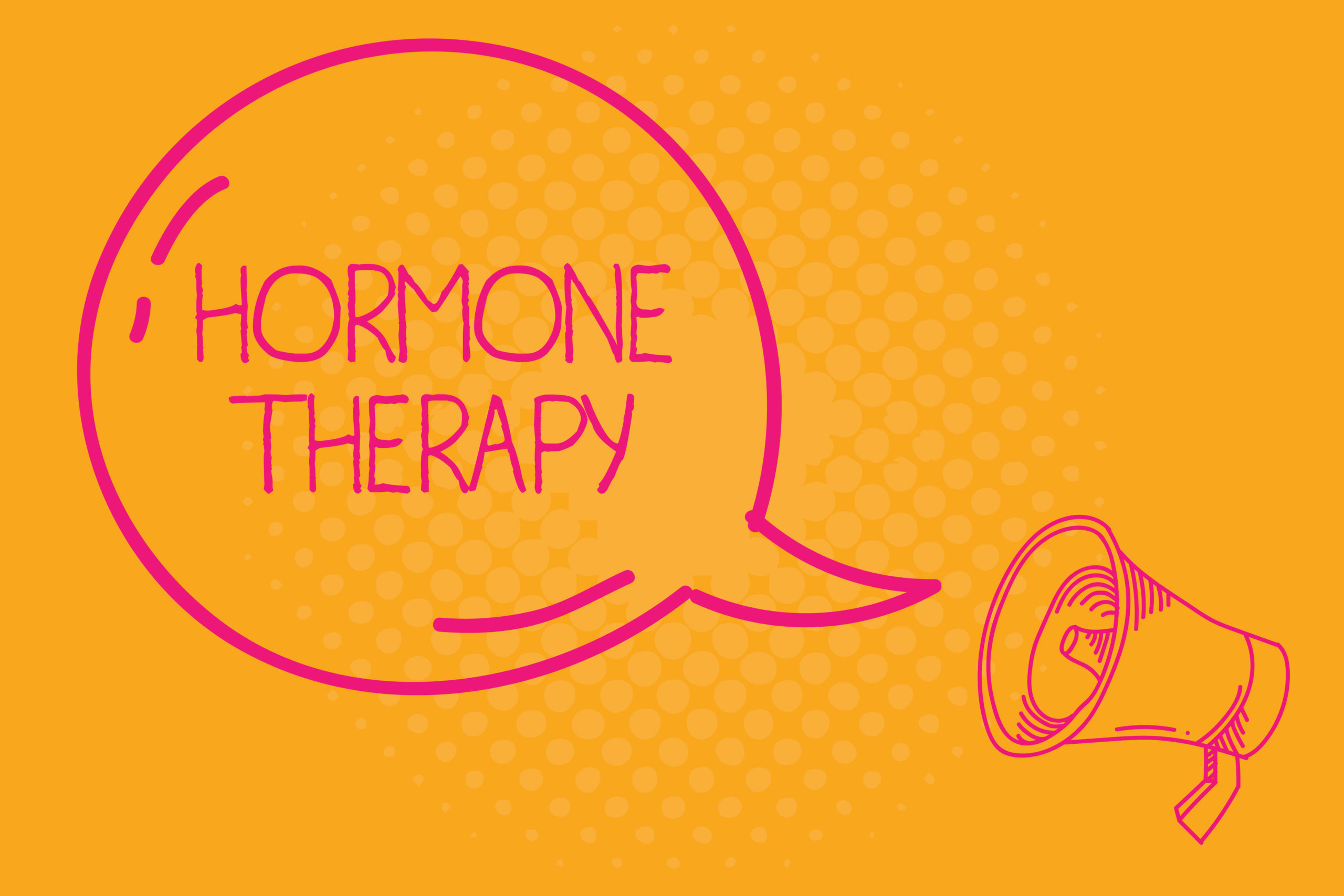 A megaphone with 'HORMONE THERAPY' in a speech bubble