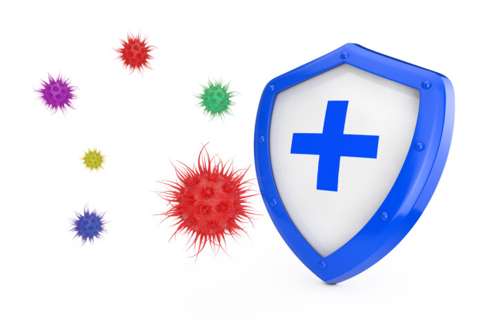 A blue and white shield against colourful bacteria/virus cells