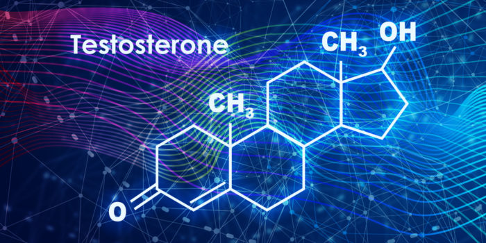 Testosterone chemical structure with blue background