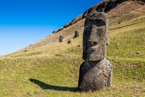 Easter Island Heads on a hill