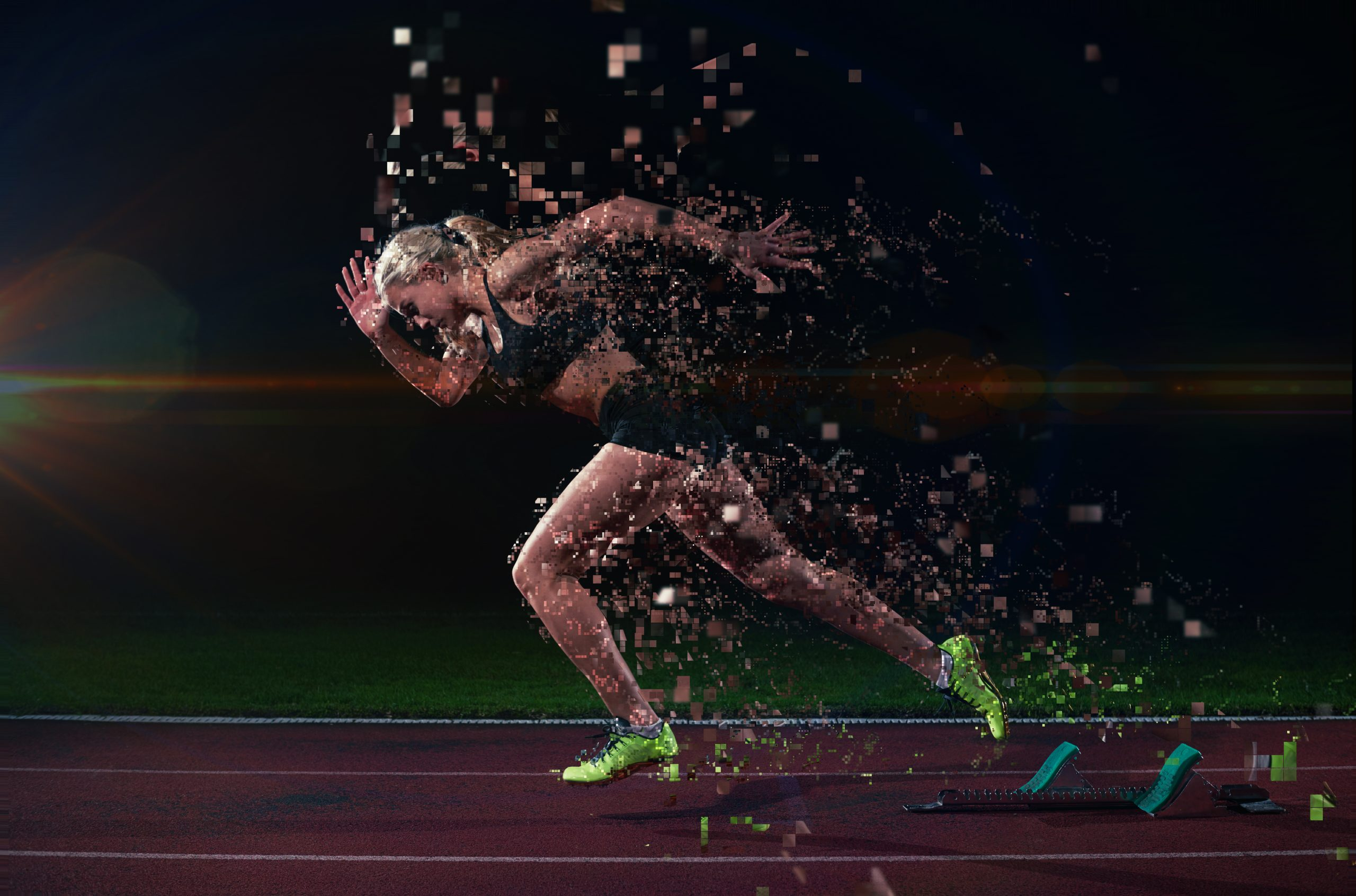 Woman running on a track with geometric effects behind her