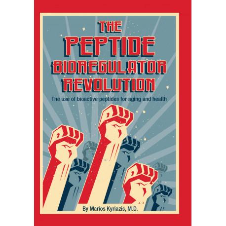 The peptide bioregulator revolution book cover in cartoon style